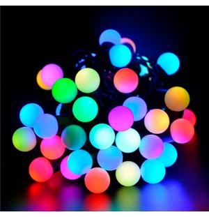 luces led interconectable  guirnalda bolas 230V 5M exterior RGB FIJO
