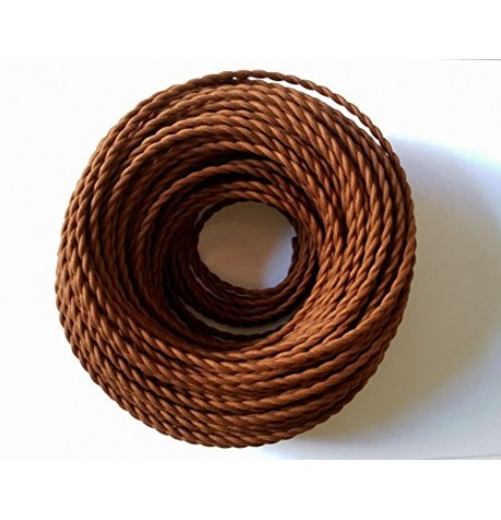 cable trenzado EXTIL tela 2x0.75mm( vender a metro)  MARRON (doble)