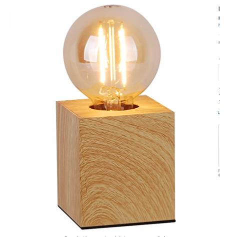 lampara de mesa  madera cudrado portalampara E27