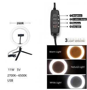 Lámpara de belleza Lámparas de MESA con soporte para teléfono regulable con mando 260R  2700-6500k