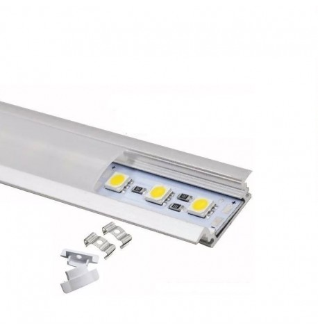 perfil aluminio empotrable  para tira led 2metros