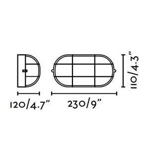 Aplique pared tortuga ovalado con rosca E27