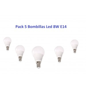 Pack 5 Bombilla Led 8W E14