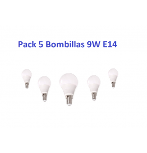 Pack 5 Bombillas Led 9W E14