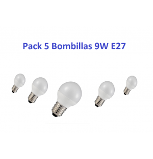 Pack 5 Bombillas Led 9W E27